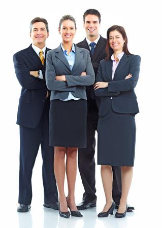 Team von 4 Personen in maßgeschneiderter Kleidung